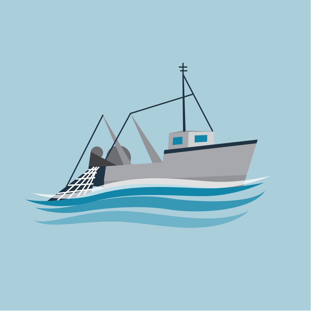 icon of boat with a fish net