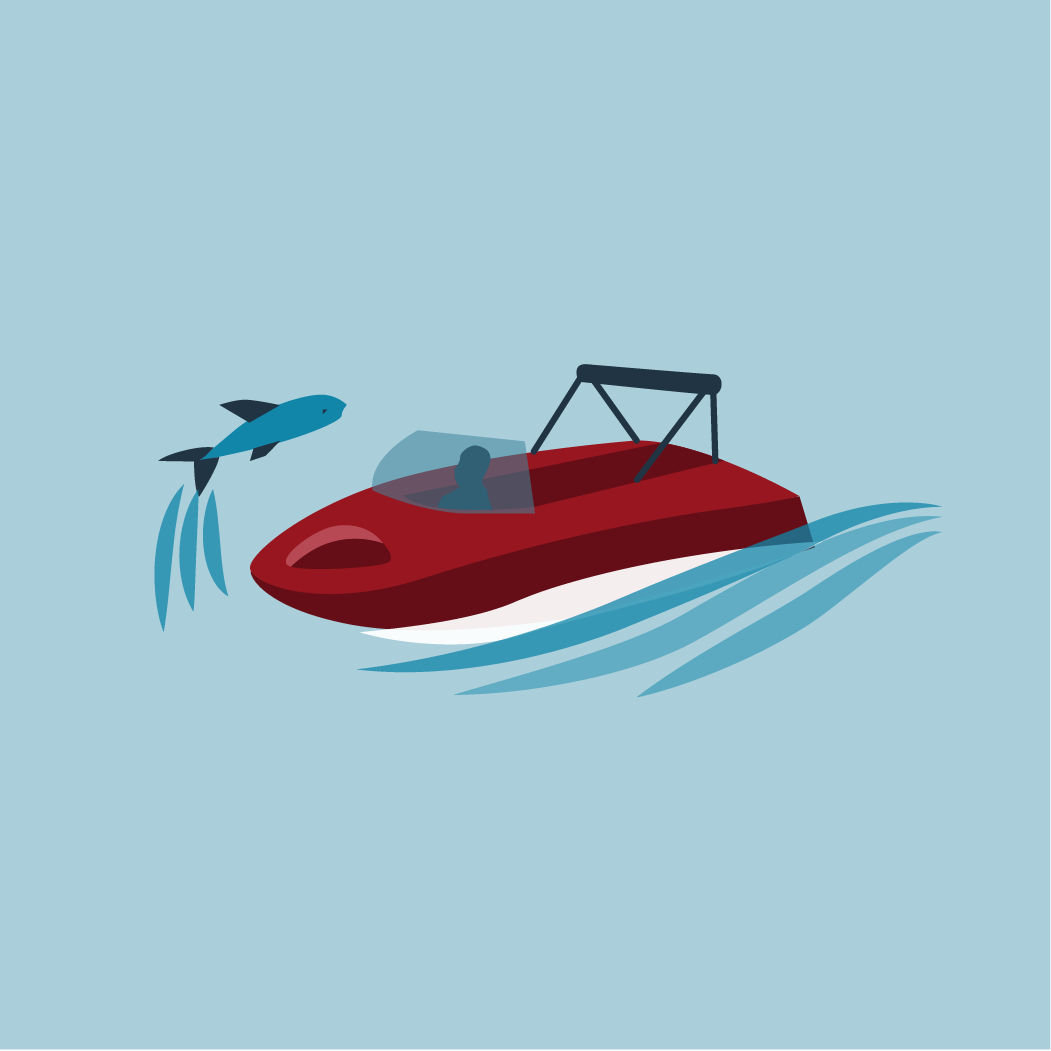 icon of boat in the water