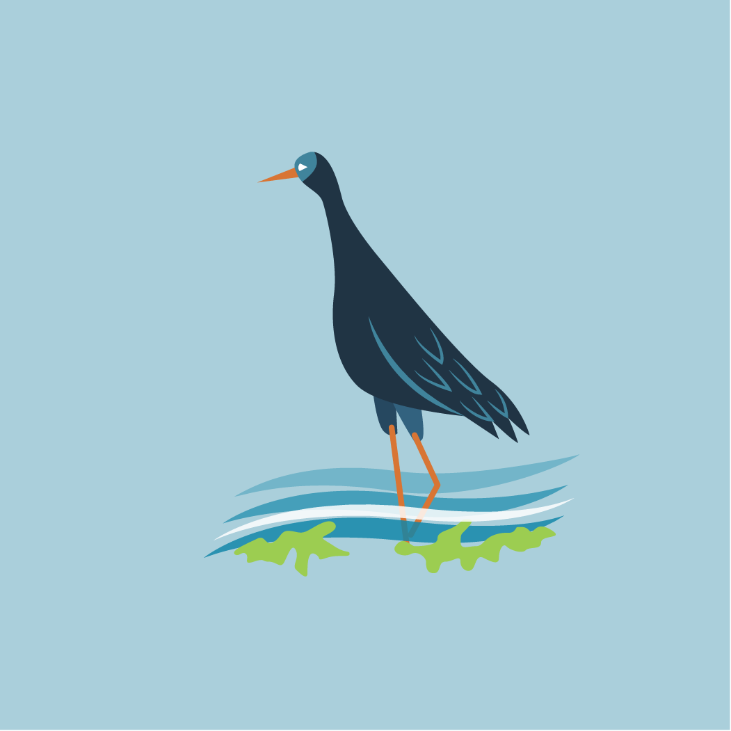icon of heron in the water